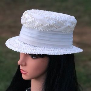 Vintage Braided Cellophane Straw Boater Hat